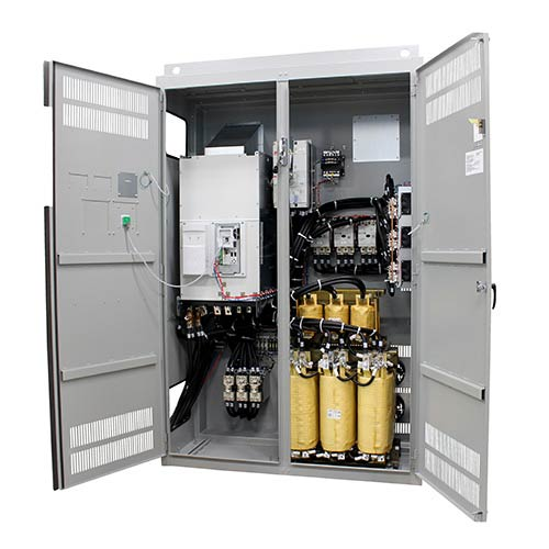 Example of open vfd control panels by Spike Electric
